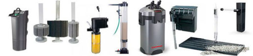 Diferentes tipos de filtros para acuarios
