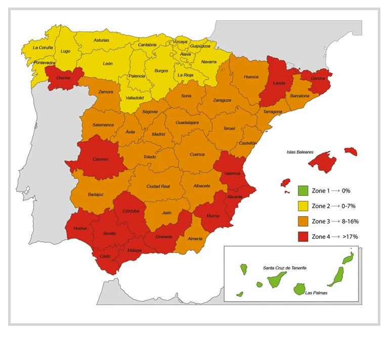 Mapa de leishmaniosis en España