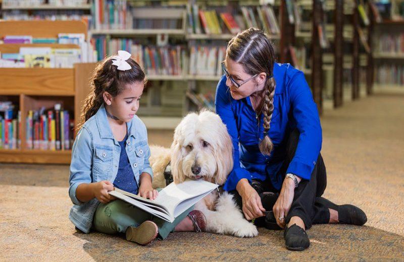 Niño leyendo a perro
